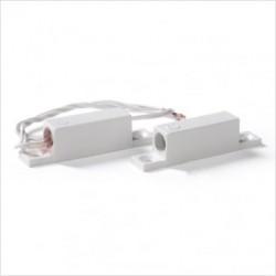 Contatto magnetico rettangolare in plastica ABS a vista, lunghezza cavo 25cm.