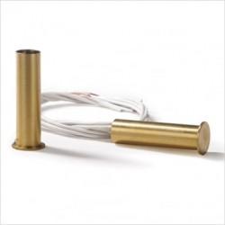 Contatto magnetico in ottone da incasso, lunghezza cavo 25cm..