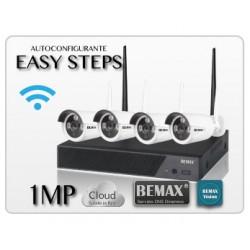 Kit Wireless NVR 4ch + 4 ipcam 1.0Mp WiFi, Bemax